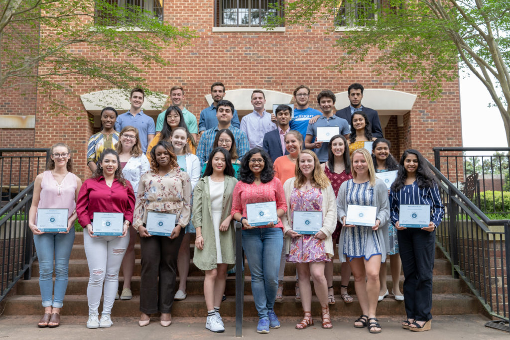This photo features Leadership Certificate recipients receiving their certificate in April 2019 at our end of year celebration at the Park Alumni Center on Centennial Campus.